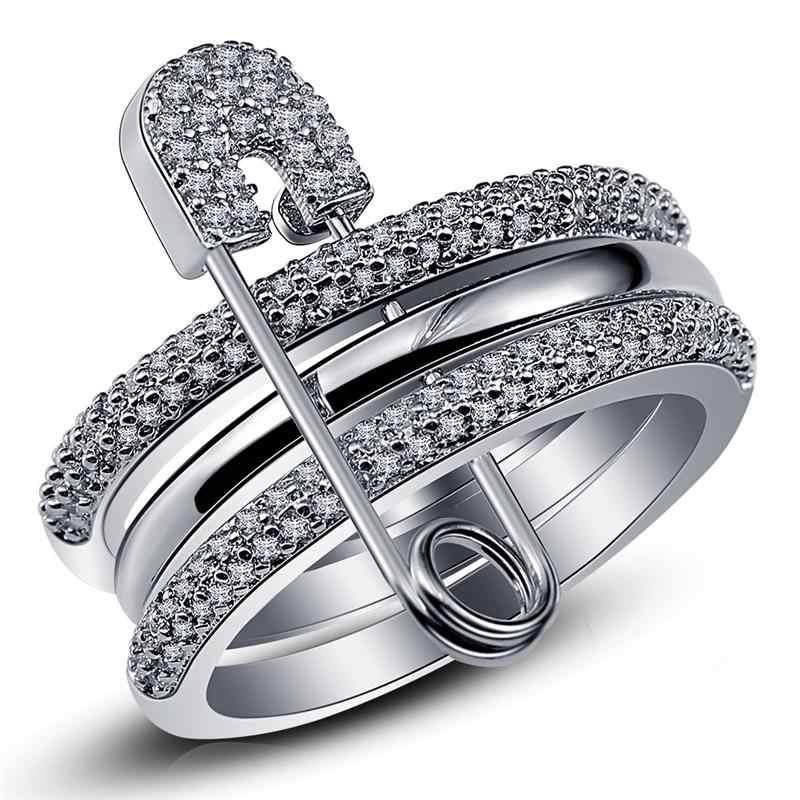 กว้างแหวนเงินชุดผู้หญิง PIN Cubic Zircon แหวน Pave การตั้งค่าหญิง PARTY อุปกรณ์เสริม Angel Anillos Mujer bague