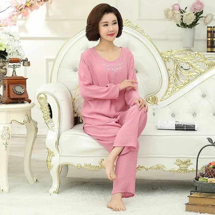 2019 Spring 4XL Large Size Female Home Suit 5 Colors Long Sleeve Women  Pijamas Sleepwear Sets 3bba44fd9
