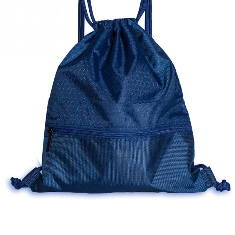Portable Polyester Sports Bag Thicken Drawstring Belt Riding Backpack Gym Drawstring Shoes Bag Clothes Backpacks Waterproof