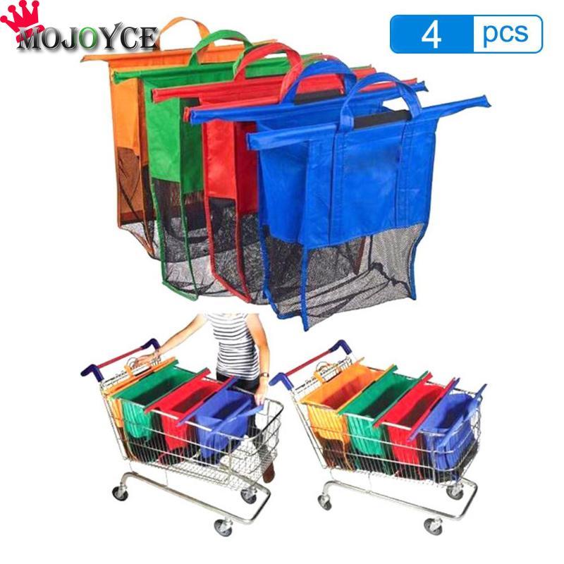 Cart Trolley Supermarket Shopping Bag Grocery Grab Shopping Bags Foldable Tote Eco-friendly Reusable Supermarket Bags 4pcs/set(China)