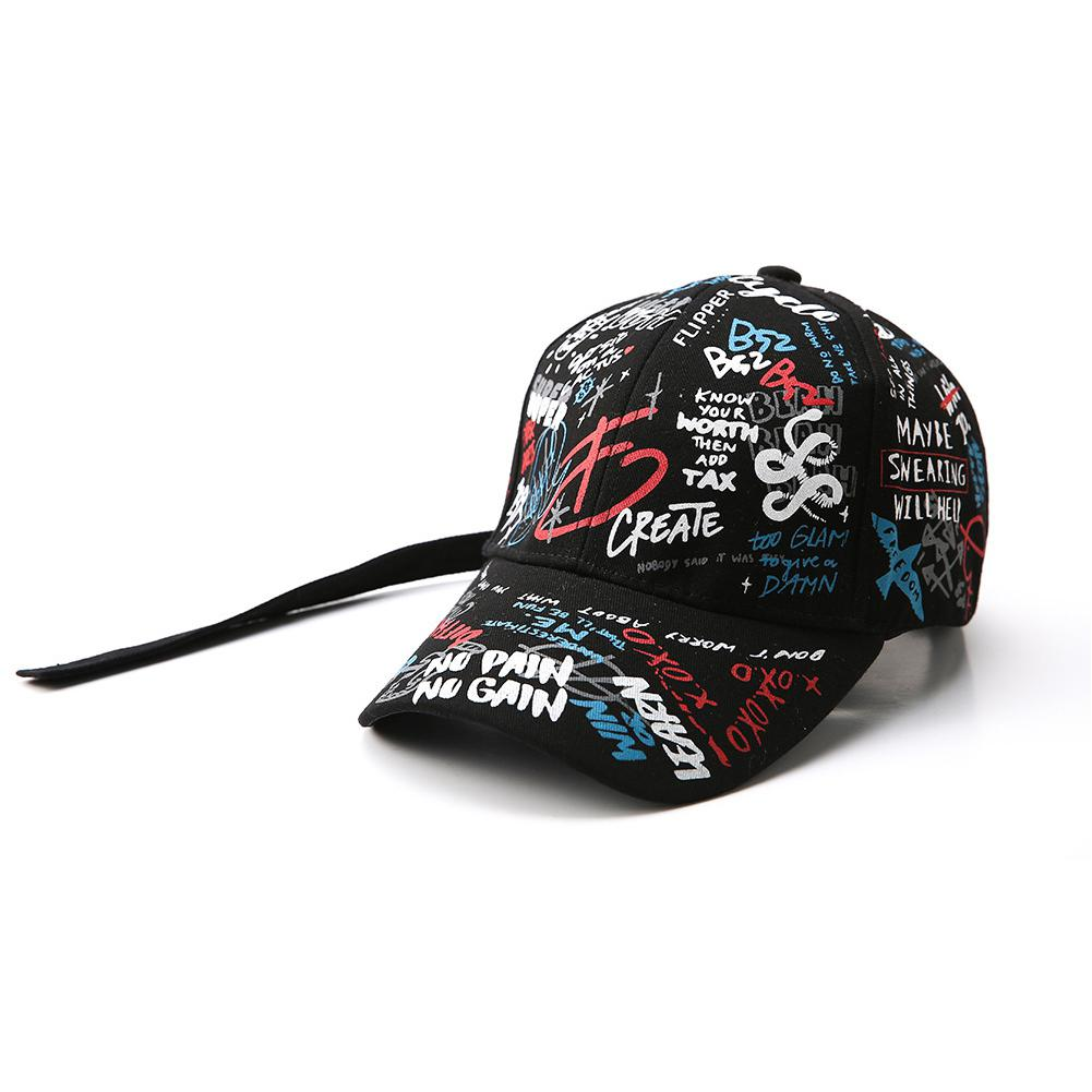 MISSKY 2019 New Lovers Women Men   Baseball     Cap   Adjustable Black White Color Printing Graffiti All-matching Hats For Male Female