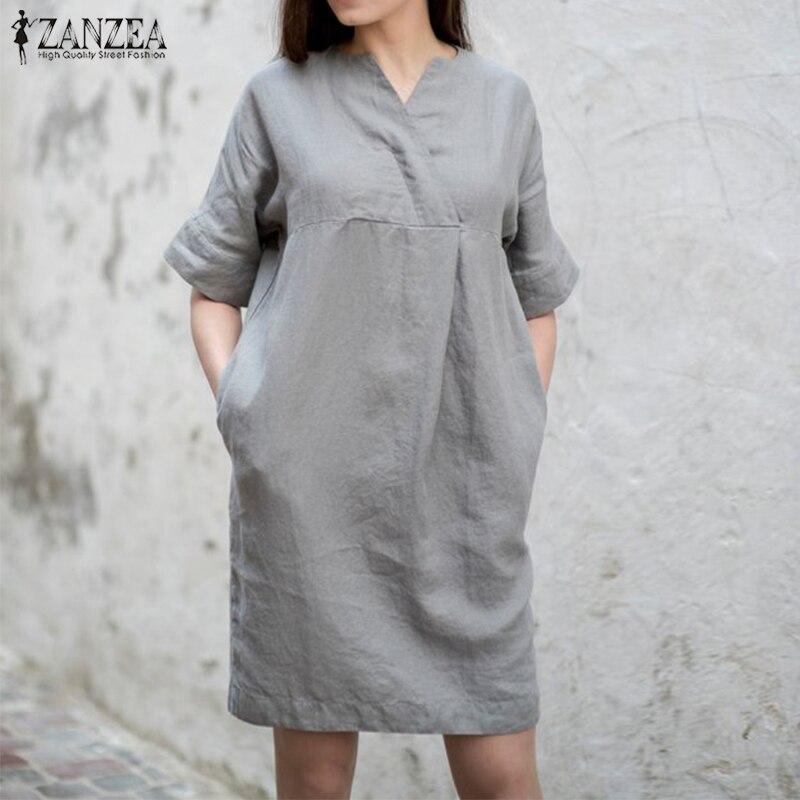 US $13.75 35% OFF|Plus Size 2019 ZANZEA Women Sundress Kaftan Shirt Dress  Vintage V Neck Summer Dresses Female Cotton Linen Robe OL Work Vestidos-in  ...
