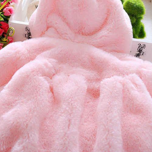 2019 New Arrival Toddler Bé Gái Fur Coat Ấm Mùa Đông Dài Tay Áo Trùm Đầu Áo Khoác Ngoài Áo Rắn Áo Trẻ Em Quần Áo Pudcoco