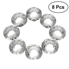 8pcs Crystal Clear Glass Cabinet Dresser Knob Diamond Shape Drawer Door Glass Cabinet Knobs Pull Handles for Home Office(China)