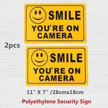 2 шт., полиэтиленовые предупреждающие видеонаблюдения, 11 х7 дюймов, 28 х18 см
