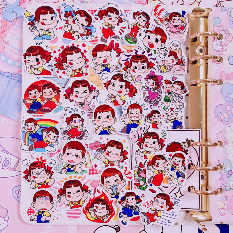 35Pcs/Pack Japanese Cartoon Character Sticker Bag Hand Account Peripheral Sticker Cartoon Cute  Diary Stickers Decoration Tool