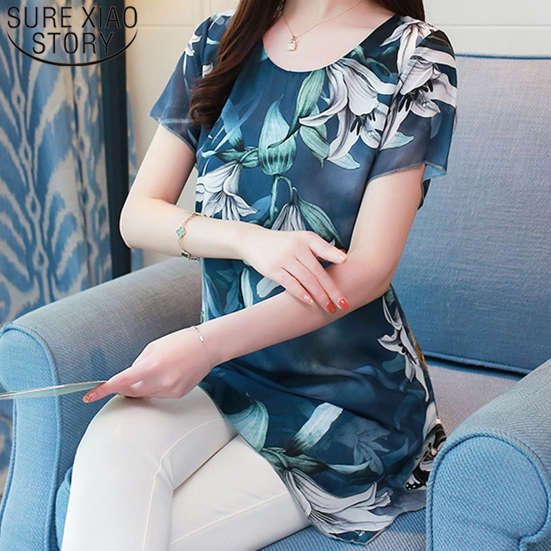 New Fashion Woman   Blouses     Shirts   2019 Summer Chiffon Vintage Plus Size Floral Print Casual Ladies Tops Clothing 4XL 0747 30