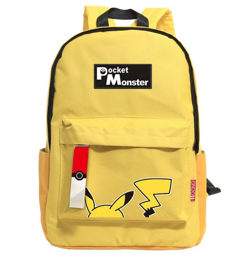 Wellcomics Game Pocket Monster Pokemon Poke Ball Pikachu Yellow Leisure Daily Backpack Travel Student Teenager School Bag Cool