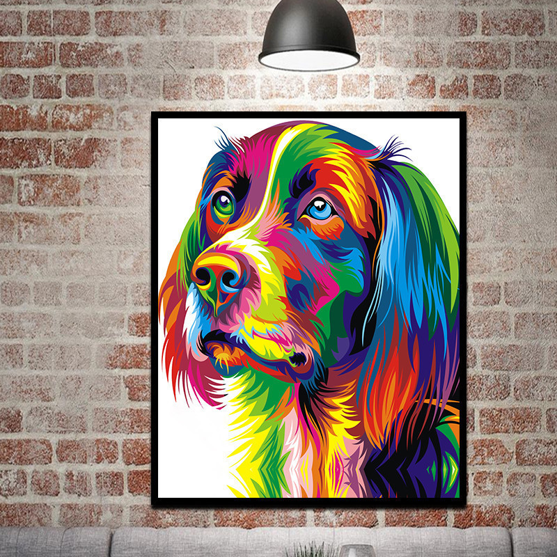 Abstract Cool Dog Color Wall Art Canvas Prints Pictures ...
