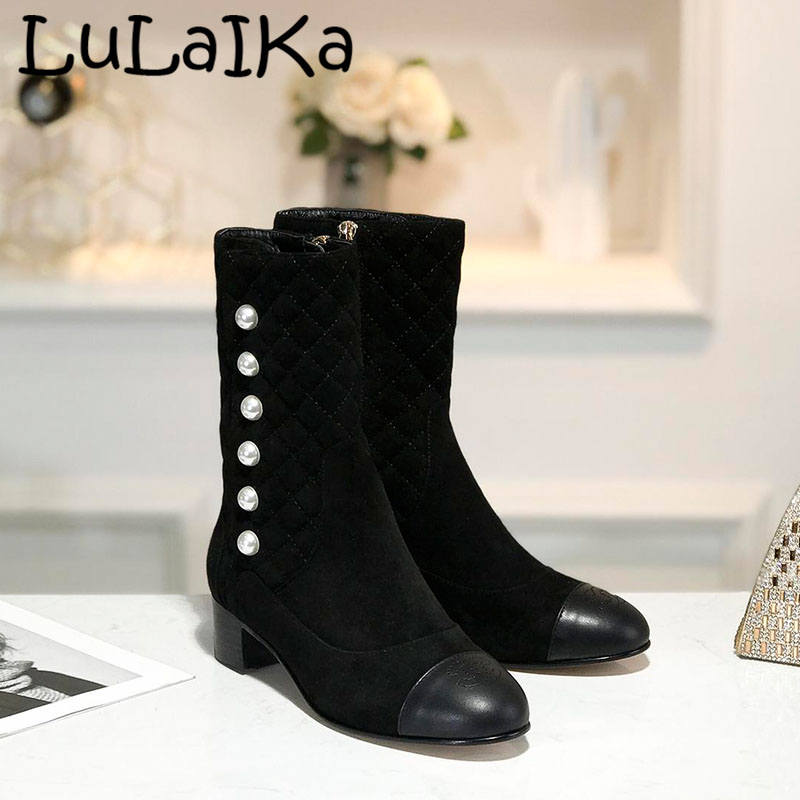 New Brands Winter Leather Woman Boots Sexy Spell Color Round Head Ankle Boots Zipper Pearl Elegant Lady High Heel Shoes 5cm heelNew Brands Winter Leather Woman Boots Sexy Spell Color Round Head Ankle Boots Zipper Pearl Elegant Lady High Heel Shoes 5cm heel