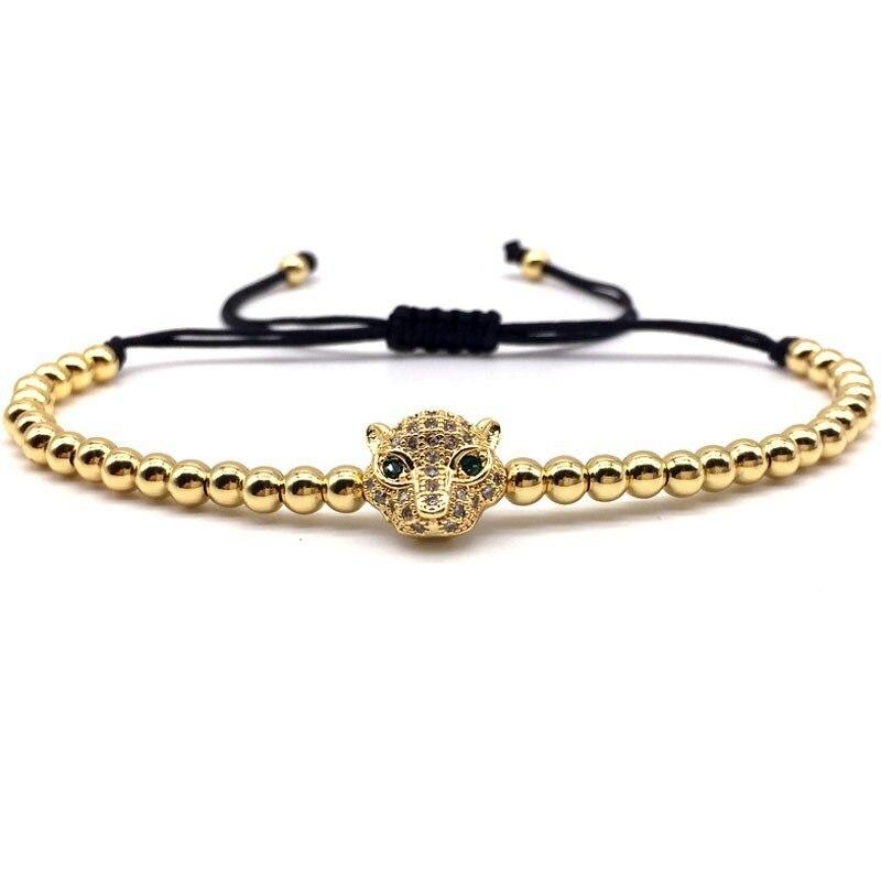 2020 New Design Leopard Head Men Women Bracelet Adjustable 4mm Beads Pave Zircon Charm Bracelet For Men Women Jewelry Gift