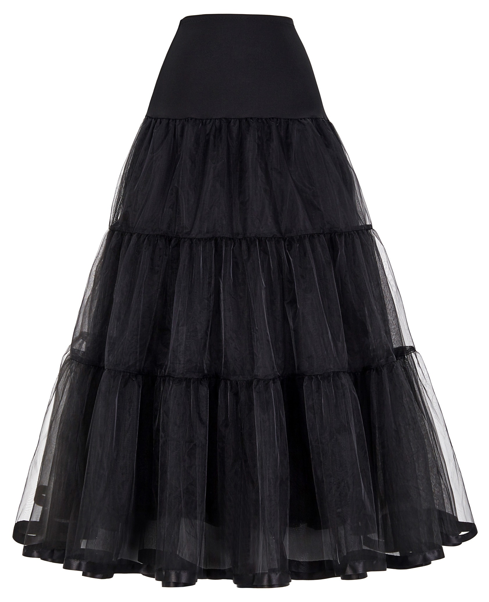 GK Long Skirt Women Retro Vintage High Waist Solid Color Elegant Skater Crinoline Petticoat Underskirt Ladies Party Skirts Falda