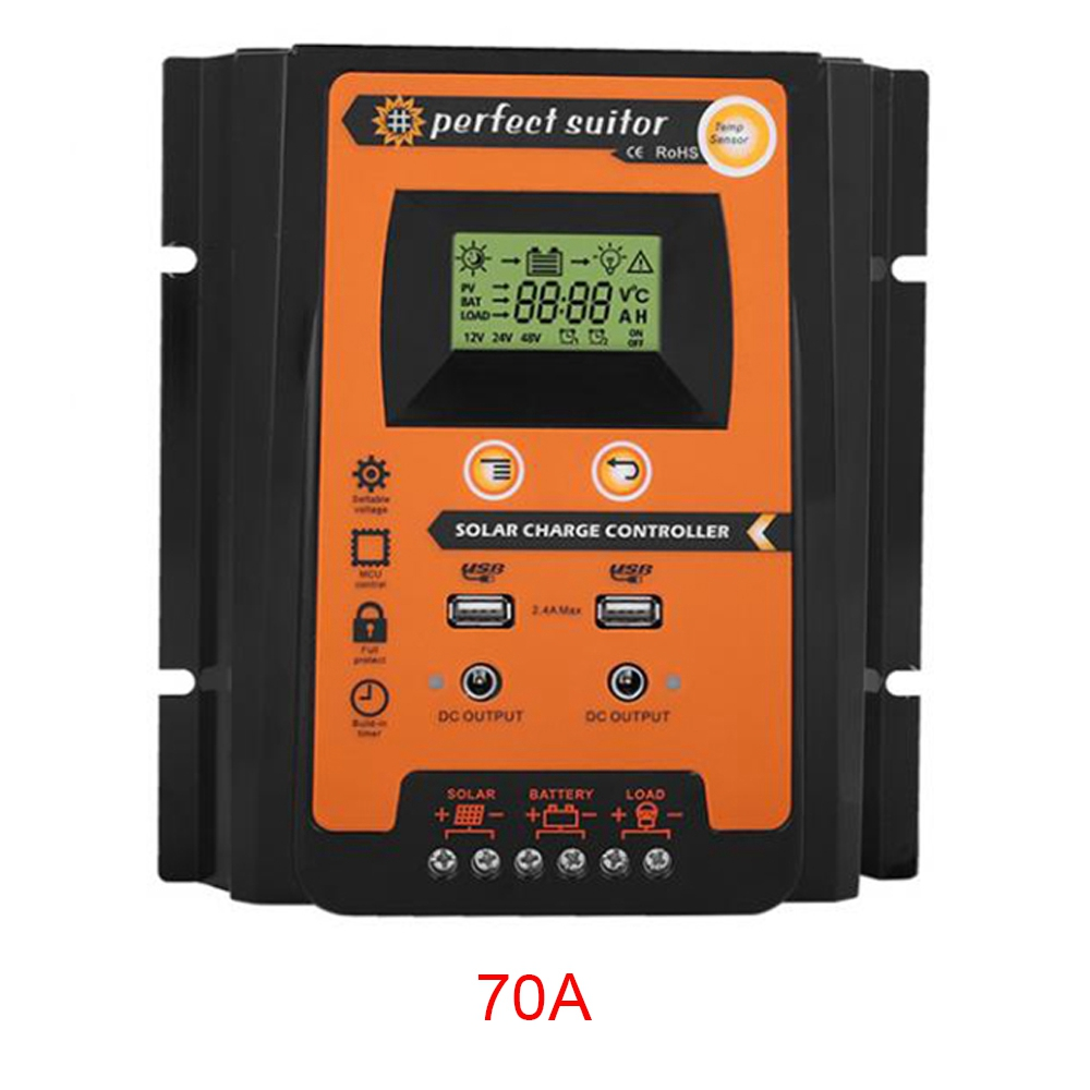 BIFI-Charge Controller 12V24V  Solar Charge Controller Solar Panel Battery Regulator Dual Usb Lcd Display Top Quality-70ABIFI-Charge Controller 12V24V  Solar Charge Controller Solar Panel Battery Regulator Dual Usb Lcd Display Top Quality-70A