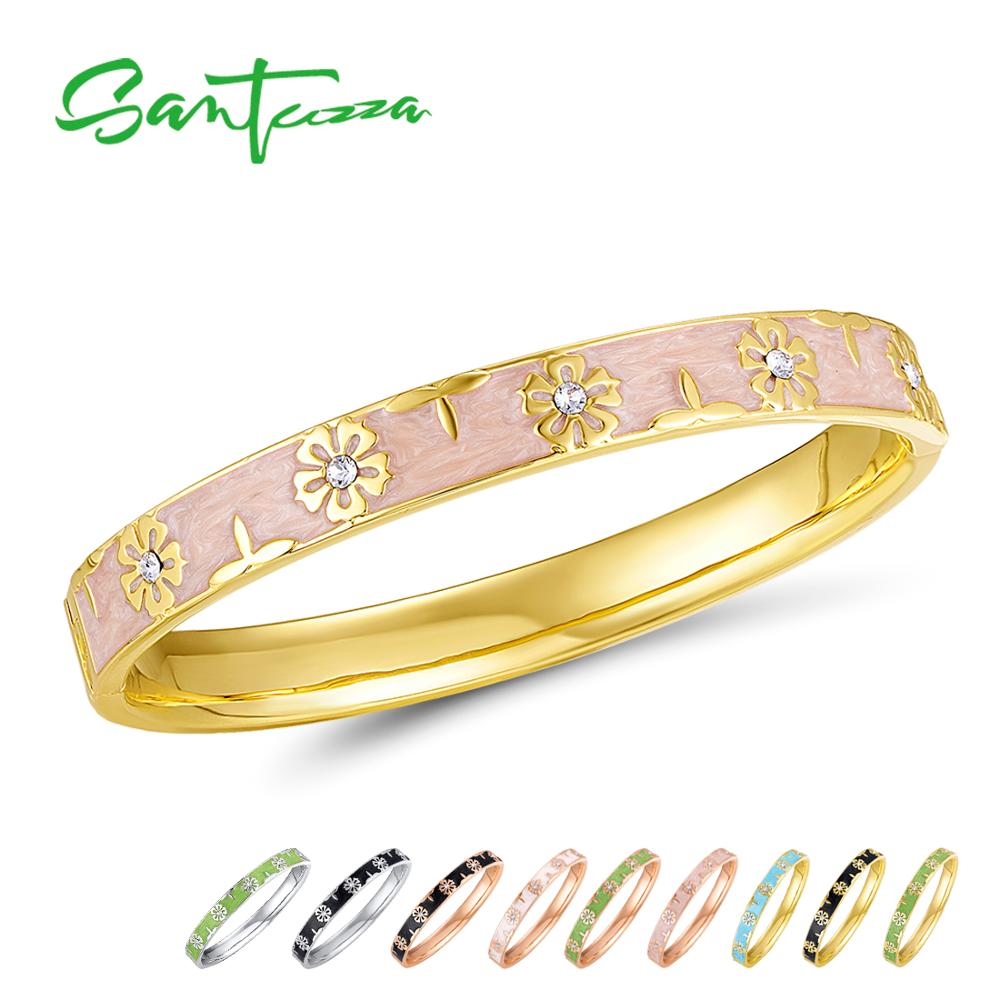 SANTUZZA Trendy Bangle For Woman Fancy Multi-Color Flower Bracelet Bangles Sparkling Crystals Fashion Jewelry HANDMADE EnamelSANTUZZA Trendy Bangle For Woman Fancy Multi-Color Flower Bracelet Bangles Sparkling Crystals Fashion Jewelry HANDMADE Enamel