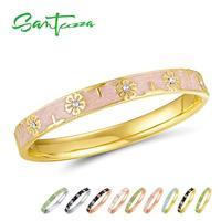 SANTUZZA Trendy Bangle For Woman Fancy Multi Color Flower Bracelet Bangles Sparkling Crystals Fashion Jewelry HANDMADE Enamel