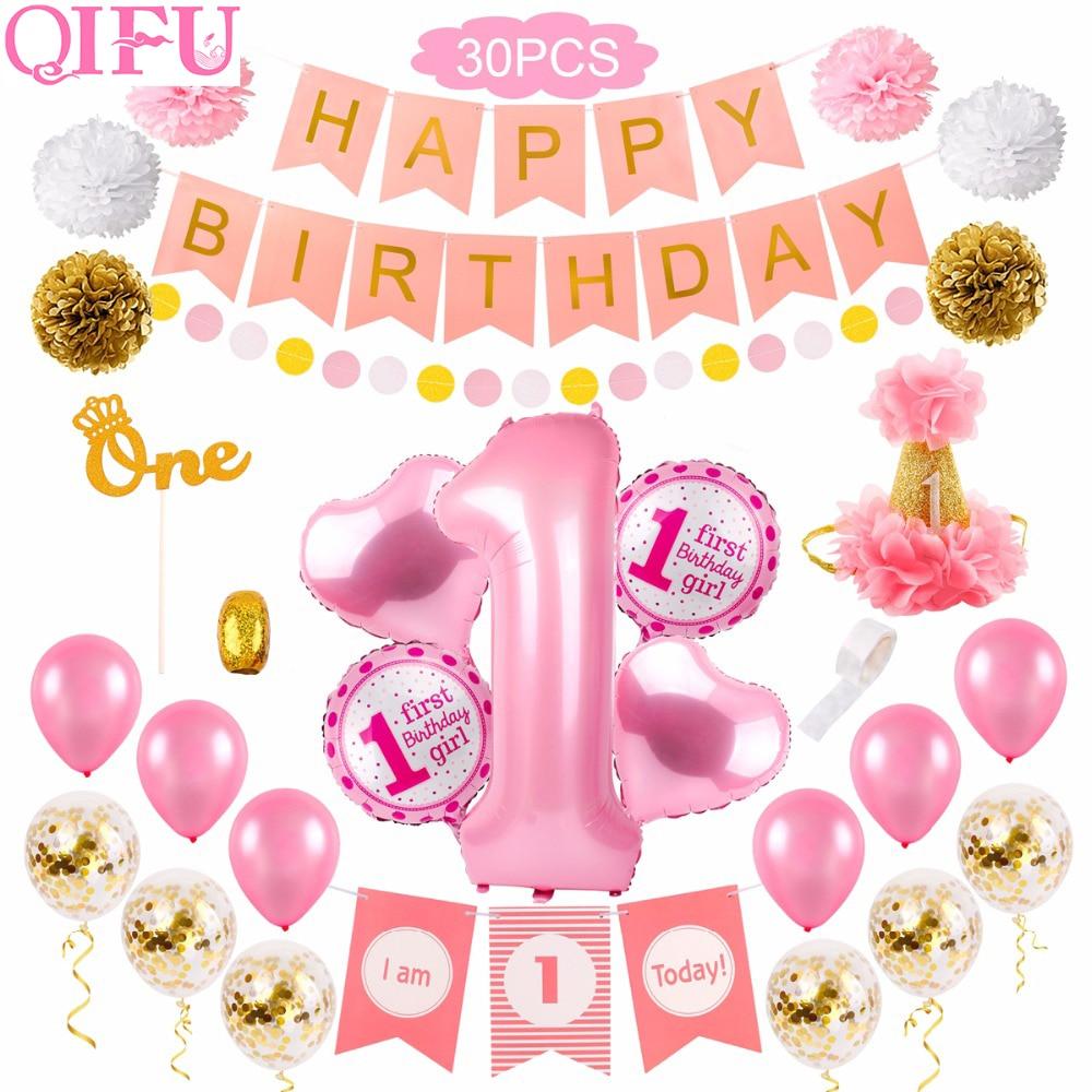30 Stücke 1st Geburtstag Dekorationen Ersten Geburtstag Mädchen Party Dekoration 1 Jahr Geburtstag Dekorationen Baby Dusche Decor Ein Jahr Alt