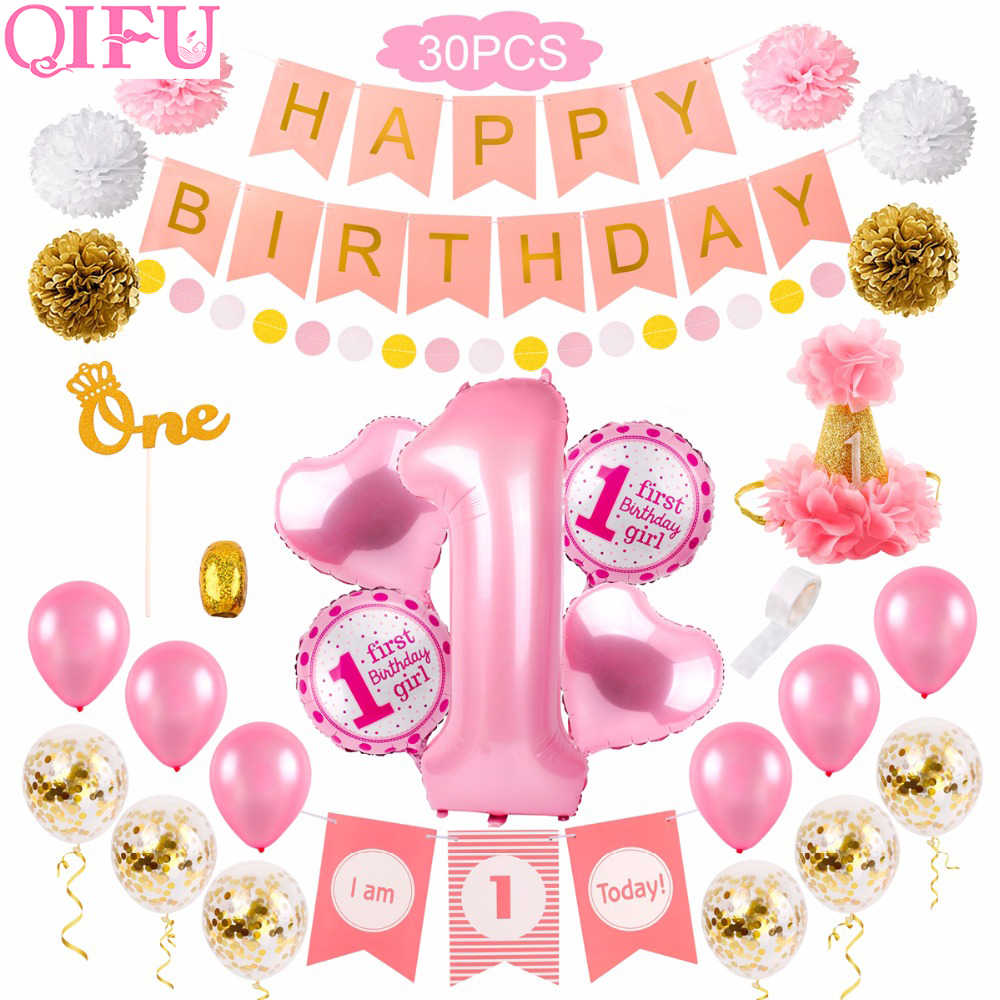 30pcs 1st יום הולדת קישוטי ראשון יום הולדת ילדה מסיבת קישוט 1 שנה יום הולדת קישוטי תינוק מקלחת דקור אחת בת