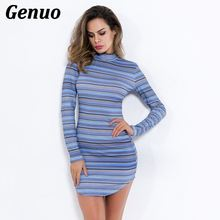 Genuo  Elegant Round Neck Long Sleeve Mixed Striped Mini Dress Autumn Winter  Women Casual Pencil Dresses Slim Bodycon Dress yellow round neck net yarn long sleeves bodycon mini dresses