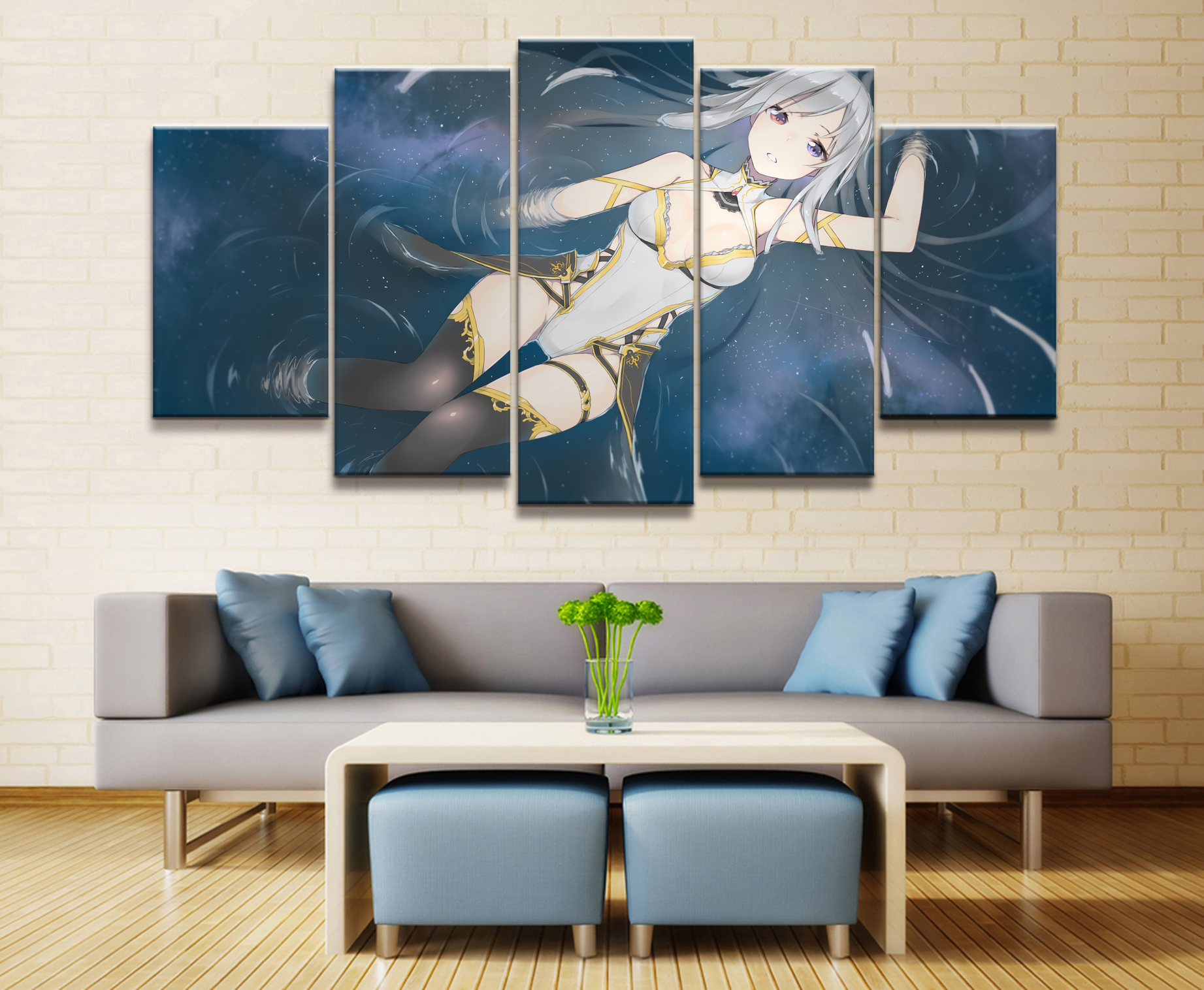 5 Panel Water Maiden Animation Canvas Printed Painting For Living Room Wall Decor HD Picture Artworks Poster in Painting Calligraphy from Home Garden
