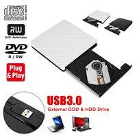 Тонкий внешний USB 3,0 DVD RW CD Писатель Привод горелки Reader плеер для портативных ПК белый/черный Стабильный передачи данных без дополнительной