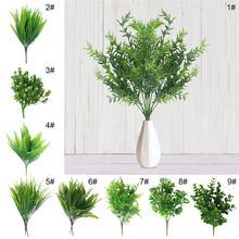 7 tenedor hierba de agua eucalipto plantas artificiales de plástico hierba verde planta de flores de plástico decoración del hogar de la boda decoraciones de mesa