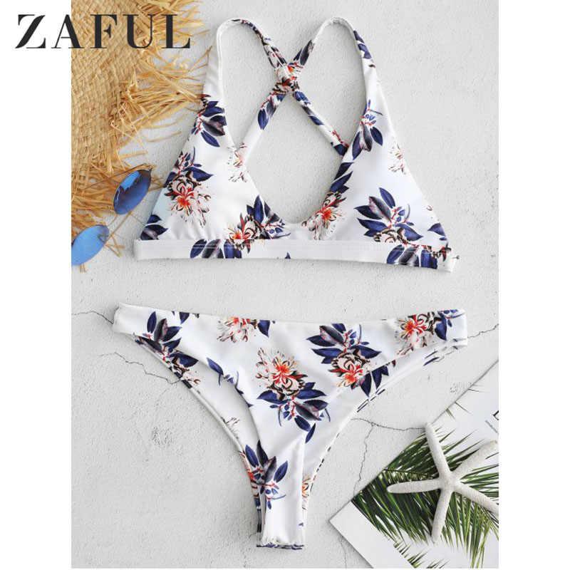 ZAFUL Plunge Neck Backless wyściełana mały kwiatowy Print kobiety Bikini Set Vintage kobiet stroje kąpielowe strój kąpielowy strój kąpielowy Biquini