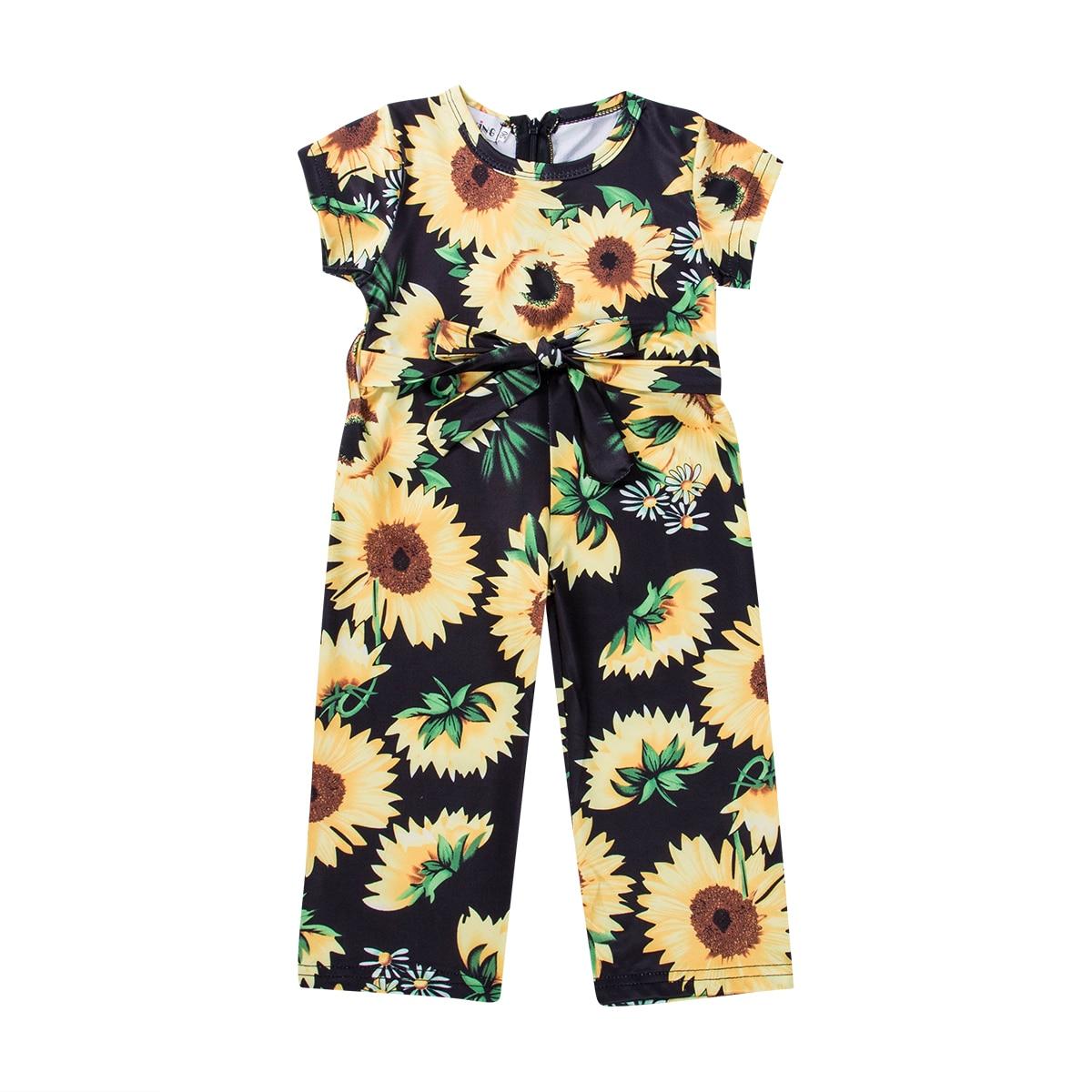 2019 летние для маленьких детей маленьких девочек Комбинезон с подсолнухом короткий рукав пояс лук принцесса комбинезон, комбинезон, пляжный...