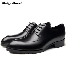 New Trendy High Heeled Shoes Men Lace Up Genuine Leather Pointed Toe Heels Business Man Casual Oxfords Wedding Shoes
