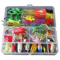BMDT Fishing Lure Set with Tackle Box Including Plastic Soft Lures Frog Lures Spoon Lures Hard Lures Popper Crank Rattlin Trou