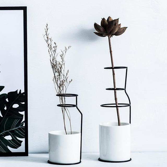 1Set Nordic Simple Style Marble Pattern White Ceramic Iron Art Vase Flower Pot Home Wedding Living Room Decoration Accessories 4