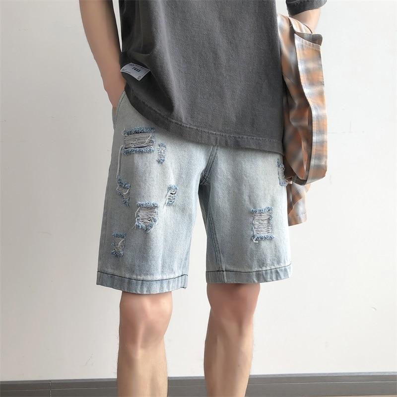 Summer New Short Jeans Men Fashion Solid Color Straight Casual Denim Shorts Man Streetwear Hip Hop Loose Torn Hole Shorts