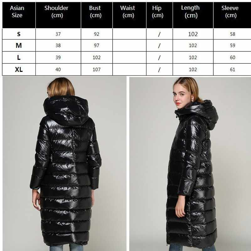 50c1a9c1b 2019 90% Goose Feather Coat Long Black Shiny Thick Warm Loose Down Parka  White Duck Puffer Jacket Plus Size Outerwear Okd673