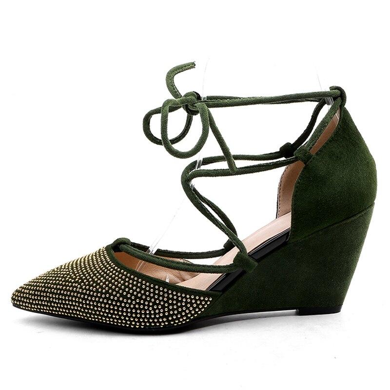 c74188e0d42d4 En 830 Black Grande Chaussures green Hauts Femme Taille À Lacets Bout 7  Cuir Robe Pointu Femmes Boîte Talons ...