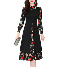 2019 Spring Autumn Long Sleeve A-line Dress Women Fashion Stand Collar Floral Printed Casual Party Dresses Vestidos Plus Size floral stand collar dress plus size women casual loose midi long sleeve dress autumn vestidos swm1050
