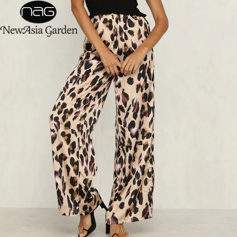 NewAsia Leopard Print High Waist   Pants   Women Trousers Fashion Vintage Animal Print   Wide     Leg     Pants   Summer Casual Loose Long   Pants