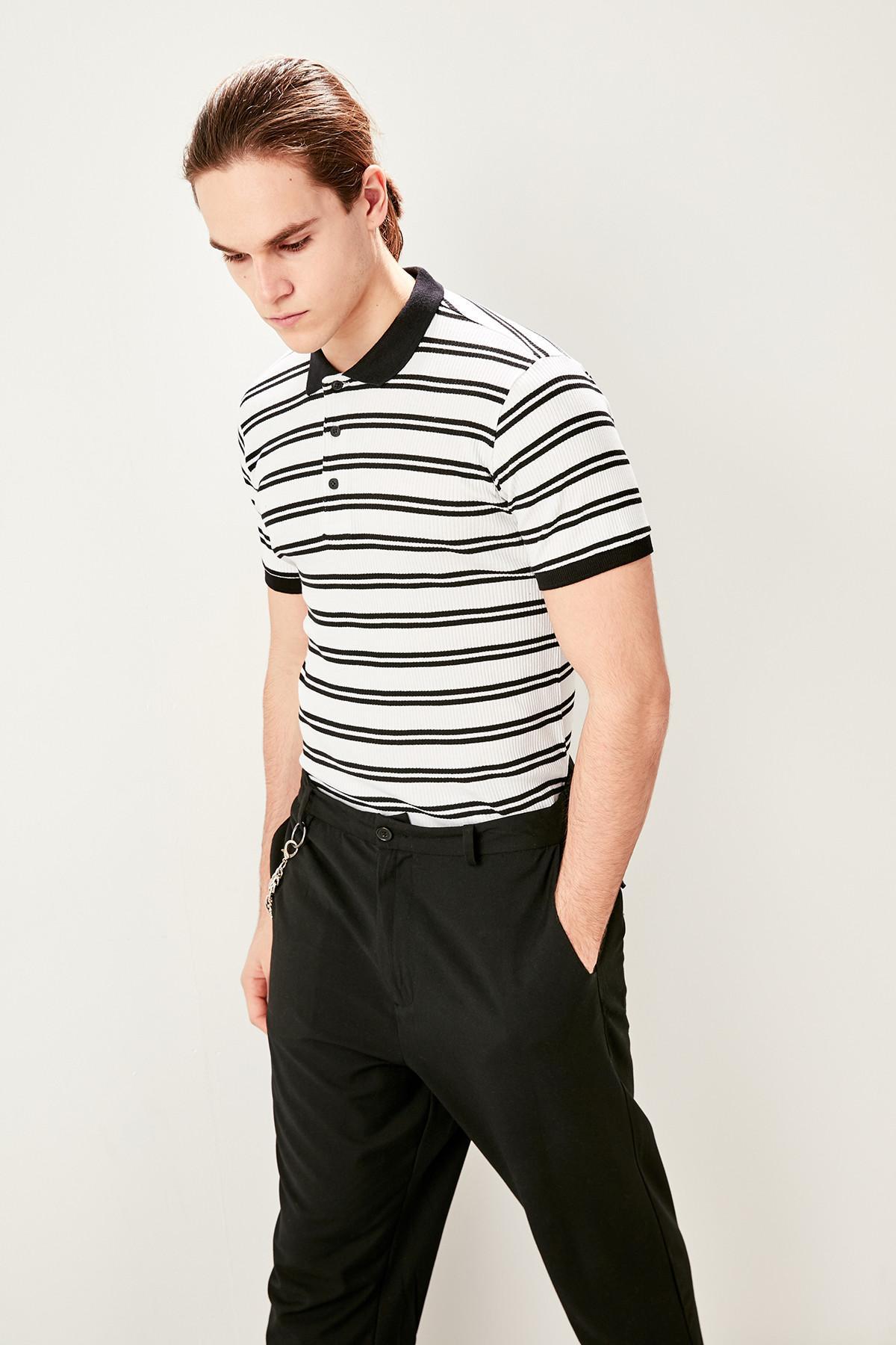 Trendyol Weiß Gestreiften Slim Fit Polo Neck T Shirt Tmnss19hd0021