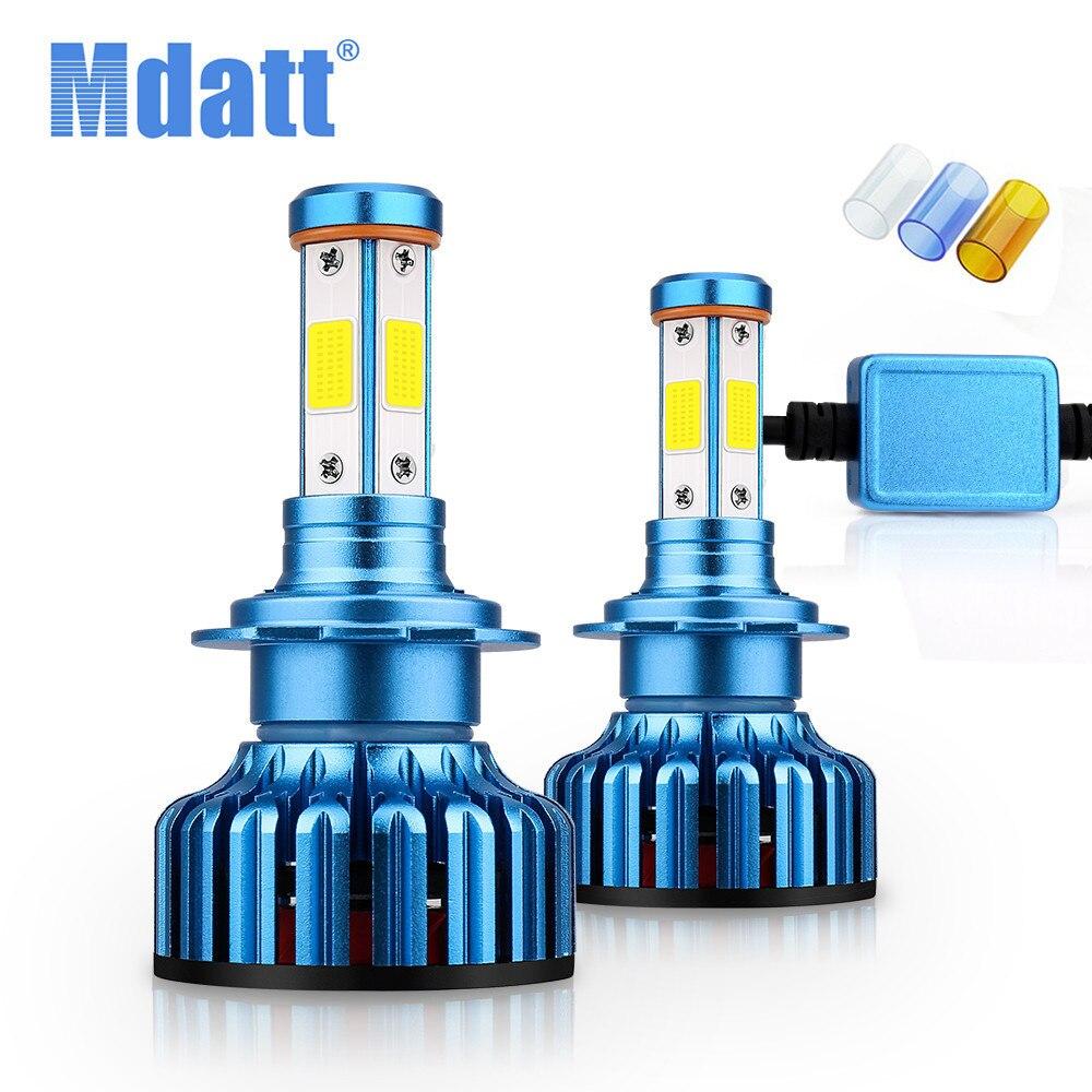 Mdatt 4 Side Car Headlight Bulb COB H1 H7 H4 H11 Auto LED Car Light High Beam Low Beam 100W 9005/HB3 9006 3000K 6000K 8000K Lamp