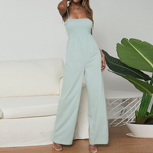 2019 Women's Solid Jumpsuits Woman Summer Casual Wide Leg Long Pants Ladies Sexy Strappy Backless Playsuits Womens Rompers