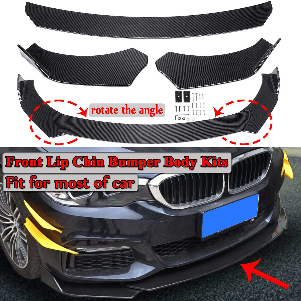 Carbon Fiber Look Black Universal 3Pieces Car Front Lip Chin Bumper Body Kits Rotate The Angle