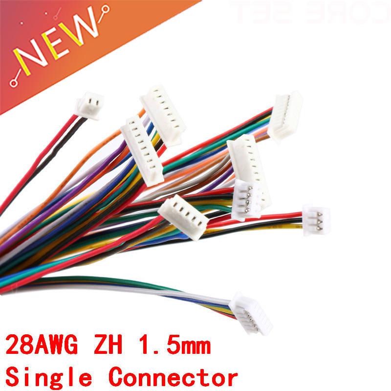 5Pcs ZH 1.5 Connector Cable Wire ZH1.5 1.5mm 2/3/4/5/6/7/8/9/10 Pin Single Connectors Electronic Line Terminal Plug 10cm length wire