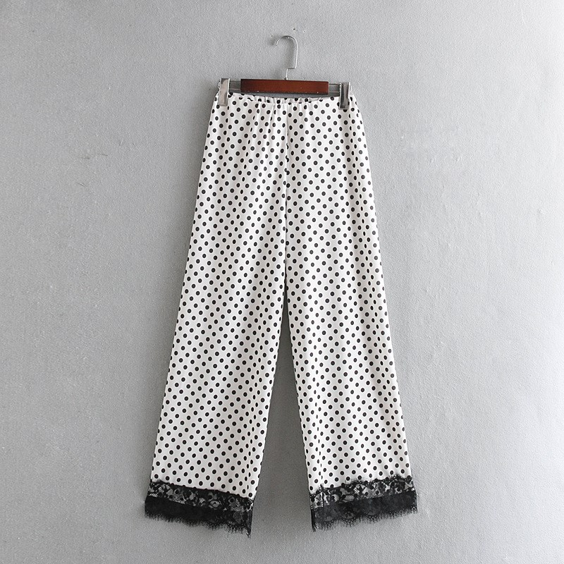 Fashion Women Polka Dot High Waist   Wide     Leg     Pants   Female Patchwork Hollow Out Lace Long Trousers