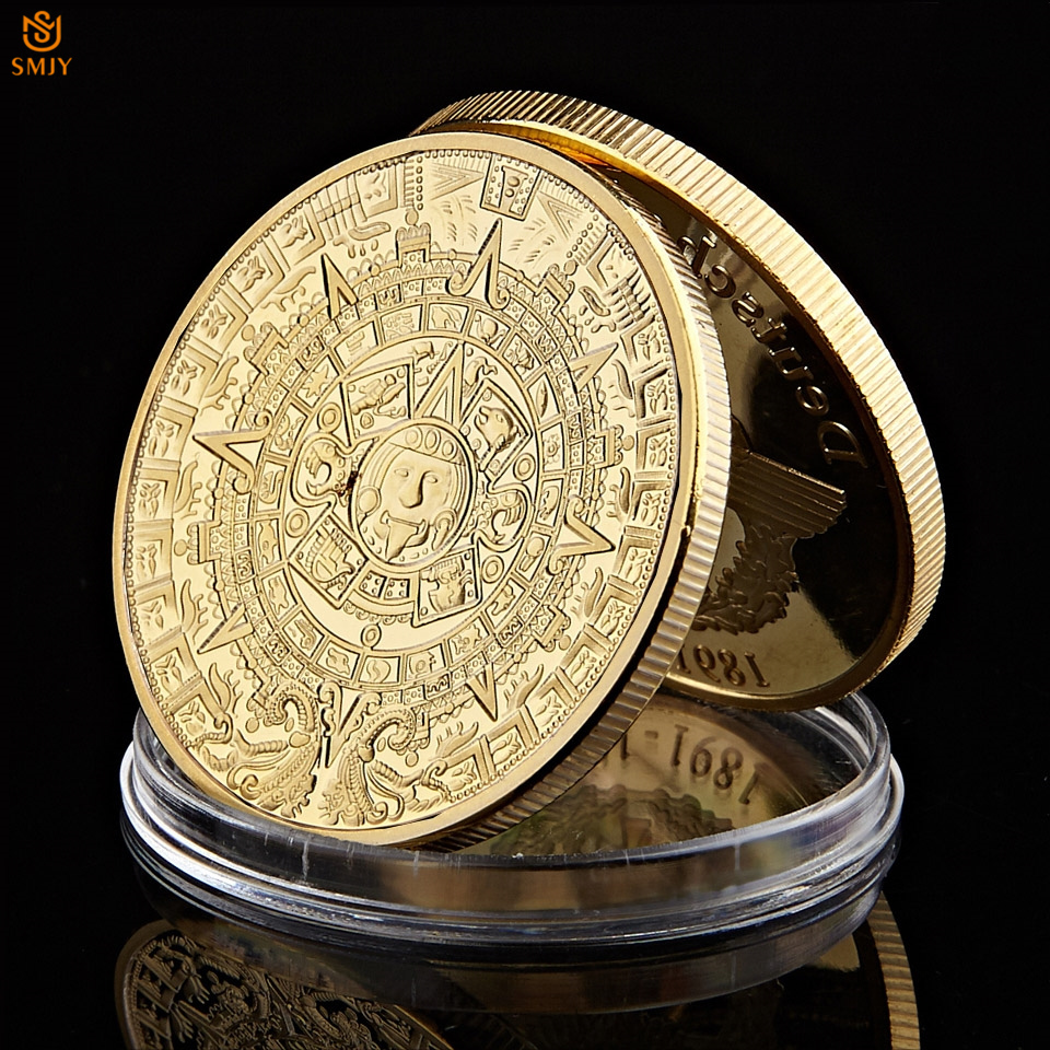Euro ouro lembrança moeda qualidade méxico azetc profecia maia calendário comemorativo moedas de metal arte artesanato colecionáveis moeda
