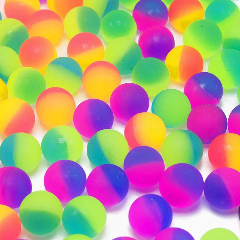 100pcs Bouncy Ball Floating Elastic Matte Bouncing Double Color Colorful Balls Pinball Mixed Kid Funny Outdoor Play Toys Plastic