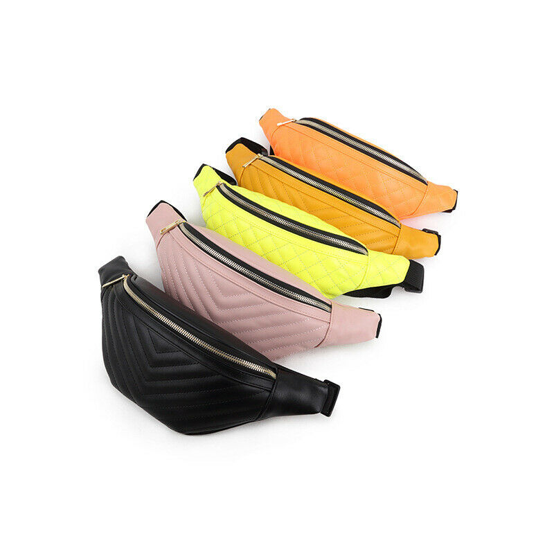 New Women's Fashion Waist Packs Solid Color Classic Striped PU Leather Sports Fanny Pack Chest Bag