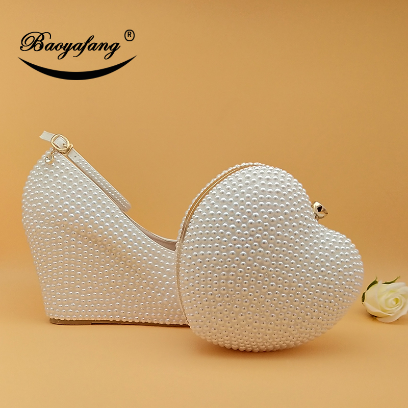BaoYaFang Womens Wedding Shoes With Matching Bags High Wedges Heart Purse White/Cream Beads Party Shoes And Bags New Arrival