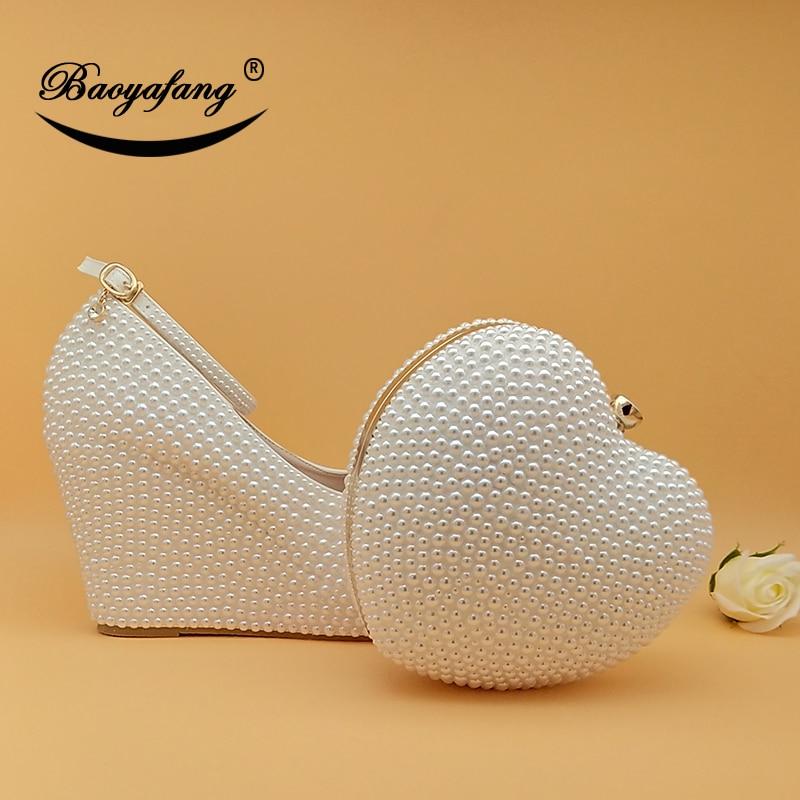 Baoyafang womens wedding shoes 일치하는 가방 high wedges heart purse 화이트/크림 비즈 파티 신발 및 가방 new arrival-에서여성용 펌프부터 신발 의  그룹 1