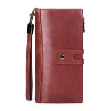 Купить с кэшбэком Large Capacity Genuine Leather Wallet Women Wallets Long Clutch Bag Woman Card Holder Coin Purse Money Pocket Portefeuille Femme