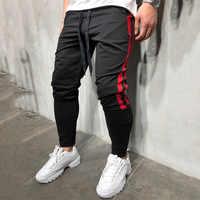 Męskie spodnie do biegania 2018 nowych moda Hip Hop fitness streetwear spodnie w paski sznurkiem spodnie dresowe do biegania Pantalon Homme