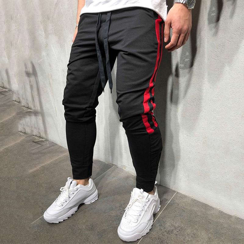 Men Track Pants 2018 NEW Fashion Hip Hop Fitness Streetwear Trousers Striped Drawstring Joggers Sweatpants Pantalon Homme