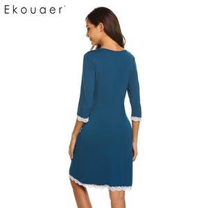 Image 5 - Ekouaer כתונת לילה אביב קיץ הלבשת שמלת כותונת האופנה נשים V צוואר יולדות שלושה שרוול רבעון כפתור Nightwear